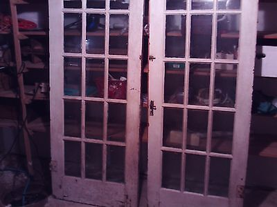 Pair Antique Oak  Glass French Doors
