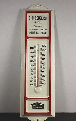 Vintage Metal  Advertising Thermometer, D.h.rouse Co., Quincy, Ill.