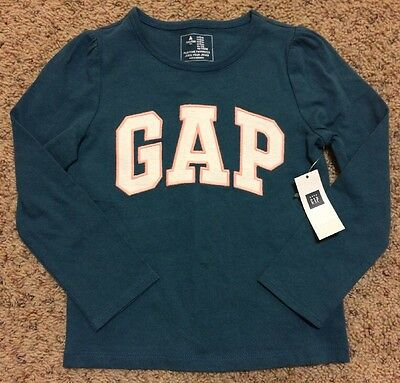 Baby Gap Logo Long Sleeve Girls T Shirt Top Tee Size 4 Year 4T Turquoise New