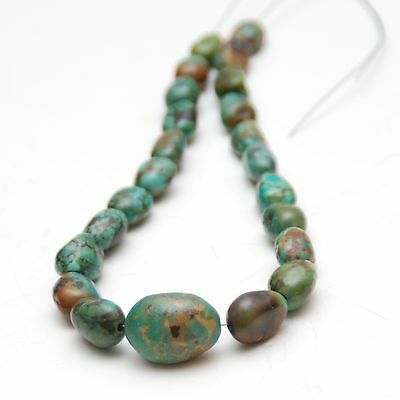 """10 1/2"""" (26.7cm) Strand OLD TURQUOISE Nugget Beads_23 Pcs._24.9 Grams"""