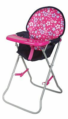 Doll high chair Flower pink-blue Height 64 cm from 2 years NIP