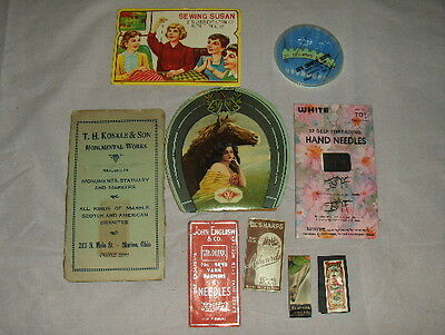 9 Vintage Older Advertising Art Deco Needle Cases Cards Packets