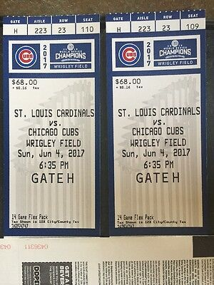 2 Tickets Chicago Cubs June 4 2017 Vs St Louis