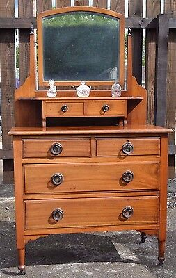 Gorgeous Antique Dressing Table Small Edwardian Mahogany Chest Drawers Bedroom
