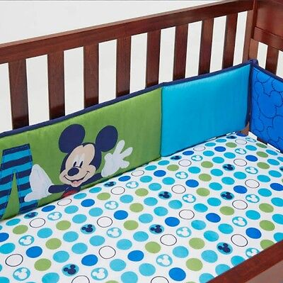 """New Disney Baby Mickey Mouse """"m Is For Mickey"""" Secure-Me Crib Bumper."""