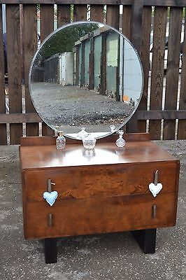 Lovely Art Deco Dressing Table Walnut Vintage Round Mirror Drawers Bedroom