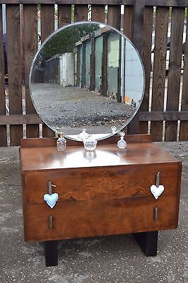 Lovely Vintage Art Deco Walnut Dressing Table Round Mirror Drawers Bedroom