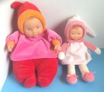 Lot of 2 - Corolle Soft Plush Pink Orange Red -  Baby's First Dolls - EUC