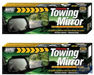 Pair Of Maypole QUALITY Convex Glass Extension Towing Mirrors *Caravans/Trailors