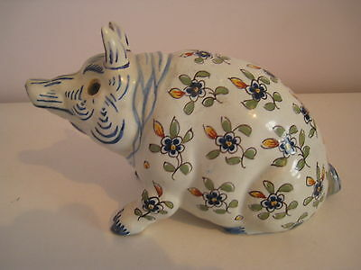 Antique Pottery Pig - Glass Eyes - Delft ?