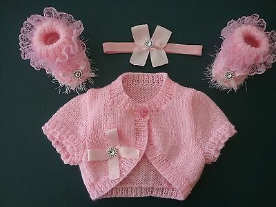 New hand knitted Pink Baby Girl Bolero Cardigan Outfit. 0/3months.