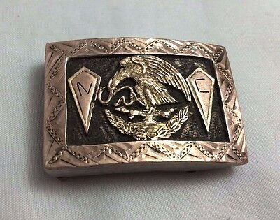 Antique Silver and Gold Mexican Belt Buckle *ST565
