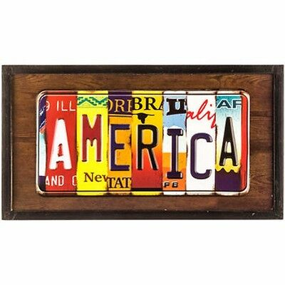 America License Plate Framed Wall Art Plate Gas Oil Pump Garage Man Cave New!!