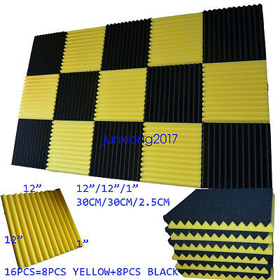 "1""x12x12 (16 Pack) Yellow/BLACK Acoustic Wedge Soundproofing Studio Foam Tiles"