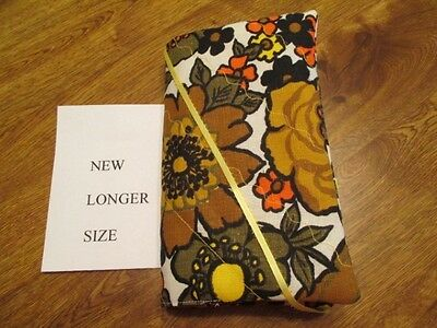 Dark Gold Flowers Print Handmade Quilted New Longer Size Paperback Book Cover