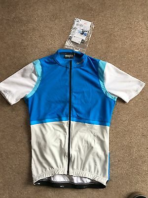 Cycling Jersey. Short Sleeve. Size S. New. White Blue. Full Zip. Campag.