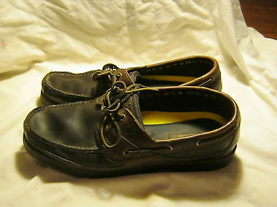 Pre Owned Timberland Men's SZ 13M Two Tone Brown Leather Boat Shoes