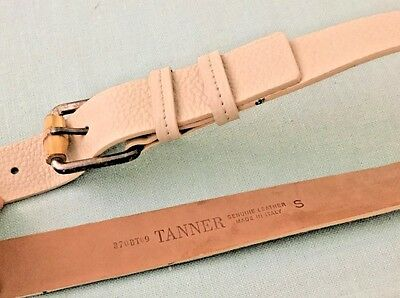 Women's Tanner Light Beige Made In Italy Genuine Leather Belt Size S.