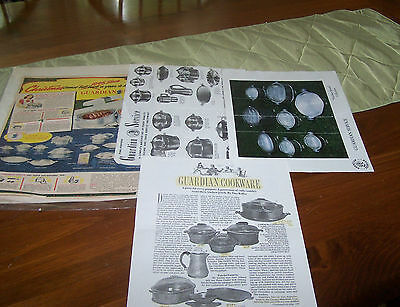 Vintage Guardian Service Cookware Paper Advertising 4 Sheets