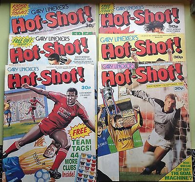 1980s FOOTBALL COMICS • Gary Lineker's Hot Shot • Free Gifts • Job Lot • 6 issue