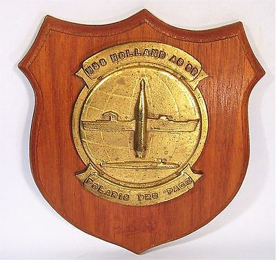 Uss Holland As-32 Vintage Bronze Ship's Crest Wall Plaque U.s. Navy Sub Tender
