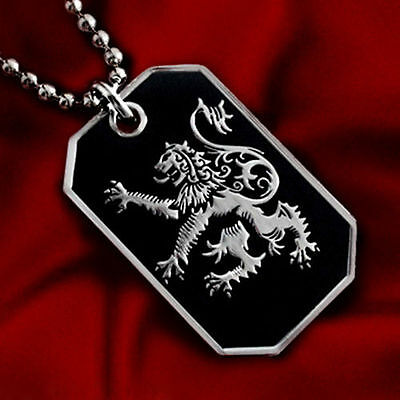 Scotland Lion Rampant Pendant Necklace Scottish Heritage Dog-Tag Ball Chain 28""
