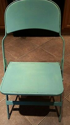 vintage 1940's Clarin Metal and Wood  chair Mint Green.
