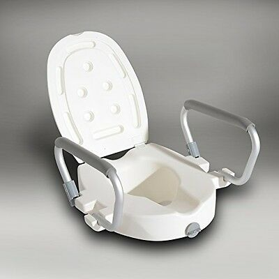 HOMCOM Raised Elevated Toilet Seat With Lock And Padded Arms Removable White