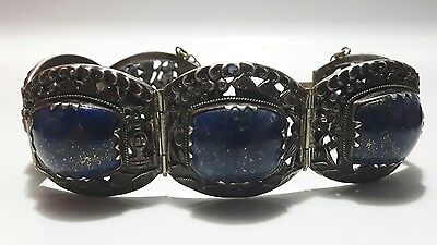Vintage Chinese Export Lapis Lazuli Silver Link Bracelet China Silver Detailed
