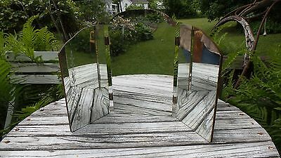 Vintage Victorian Era Vanity Tri Fold Mirror with Flowers French Cottage Style