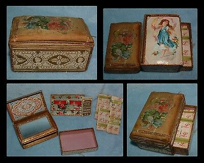 Antique Victorian THE PALACE COMPANION Paper Needle Case Sewing Box Mirror