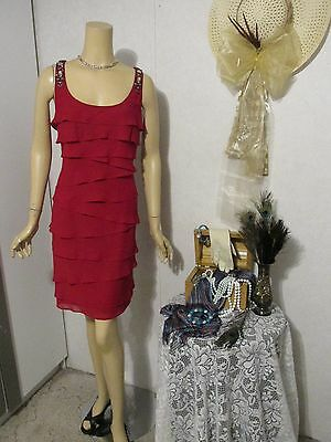 Mother Of The Bride Dress by S.L. Fashions-Size 16-Dark Red Ruffled Tiers