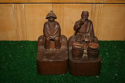 Antique hand Carved Asian Wood Carved bookends Figural