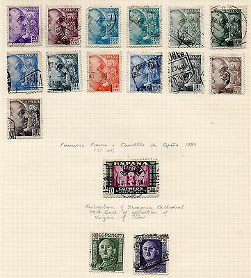 SPAIN = Various 1939 MINT & USED on part original Album page. Unchecked