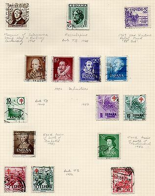 SPAIN = Various 1948/1952 USED on part original Album page. Unchecked