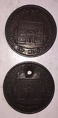 1844 Bank Of Montreal Lot Of Two Half (1/2) Penny Tokens