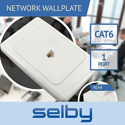 Network Wall Plate 1 Port Gang for CAT6 LAN RJ45 8P8C Cable Plug to Plug