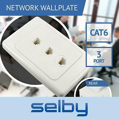 Network Wall Plate 3 Port Gang for CAT6 LAN RJ45 8P8C Cable Plug to Plug