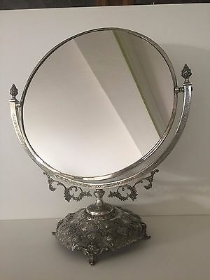 Antique Large Isfahan Persian 84 Silver Hand Chased Table Vanity Standing Mirror