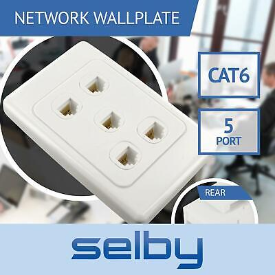 Network Wall Plate 5 Port Gang for CAT6 LAN RJ45 8P8C Cable Plug to Plug