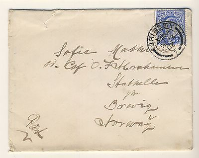 GB - 1902 KEVII SG230 on cover from GRIMSBY to BREVIK, Norway