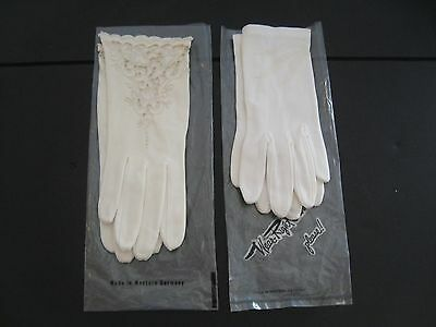 Lot True Vintage White lace embroidered Gloves made in Western Germany Austria