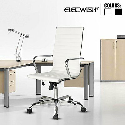 Elecwish PU Leather Chrome Executive Office Chair High Back Computer Desk Task