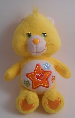 "Care Bears Superstar Bear 8"" Bean Bag Plush EUC 2005 Yellow"