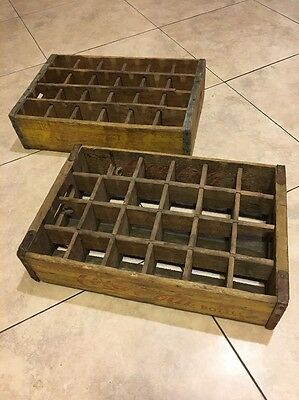 2 Coca Cola Bottle Crates Vintage Wooden Carrier Advertising 24 Slot Yellow