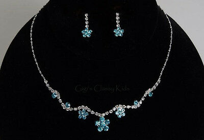 New Girls Kids Children's Turquoise Rhinestone Necklace Earrings Jewelry Set