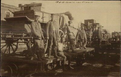 Soldiers on RR Train Cars Depart From Rimini Italy WWI 1918 RPPC Postcard