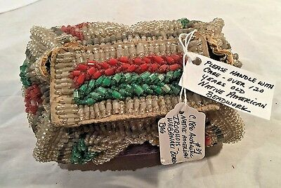 "CIRCA 1890's NATIVE AMERICAN ""IROQUOIS WABABAKI"" BEADED BAG"