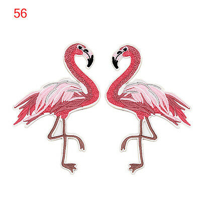 Fashion Embroidery Flamingo Patch Birds Applique Embroidery Patches For Clothing