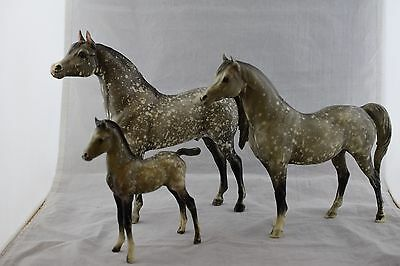 Breyer Traditional Dapple Grey Proud Arabian Horses: Stallion, Mare and Colt